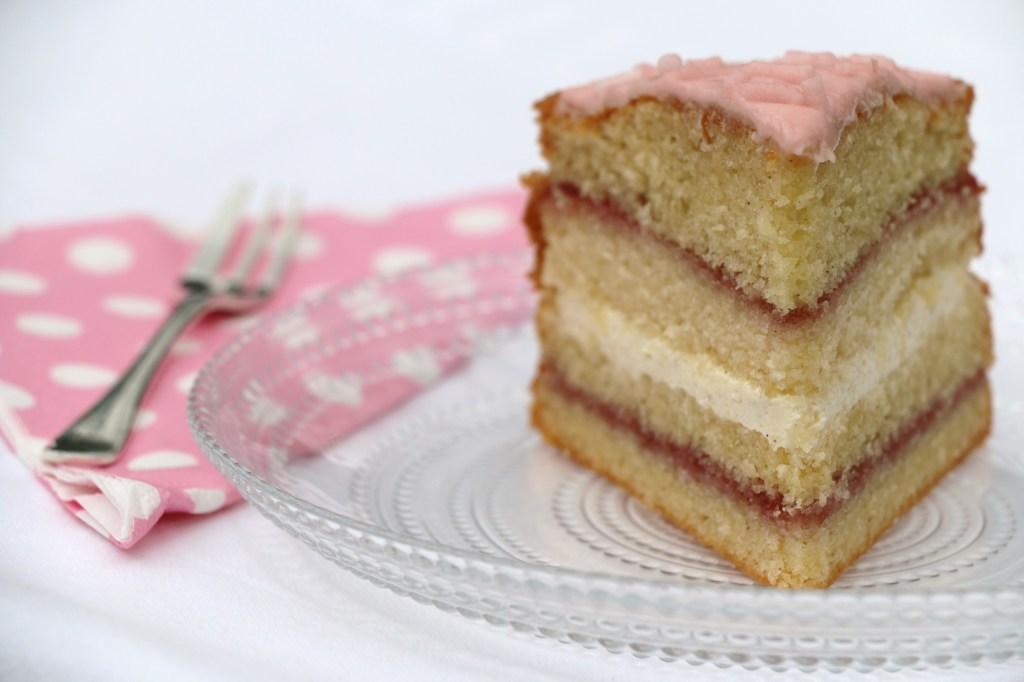 three-layer iced victoria sponge