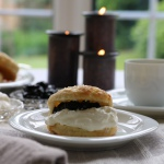 cream tea with scone and blackcurrant jam