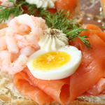 salmon, egg and shrimp smorrebrod