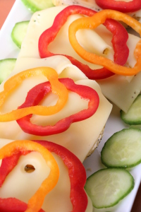 jarlsberg smorrebrod with peppers