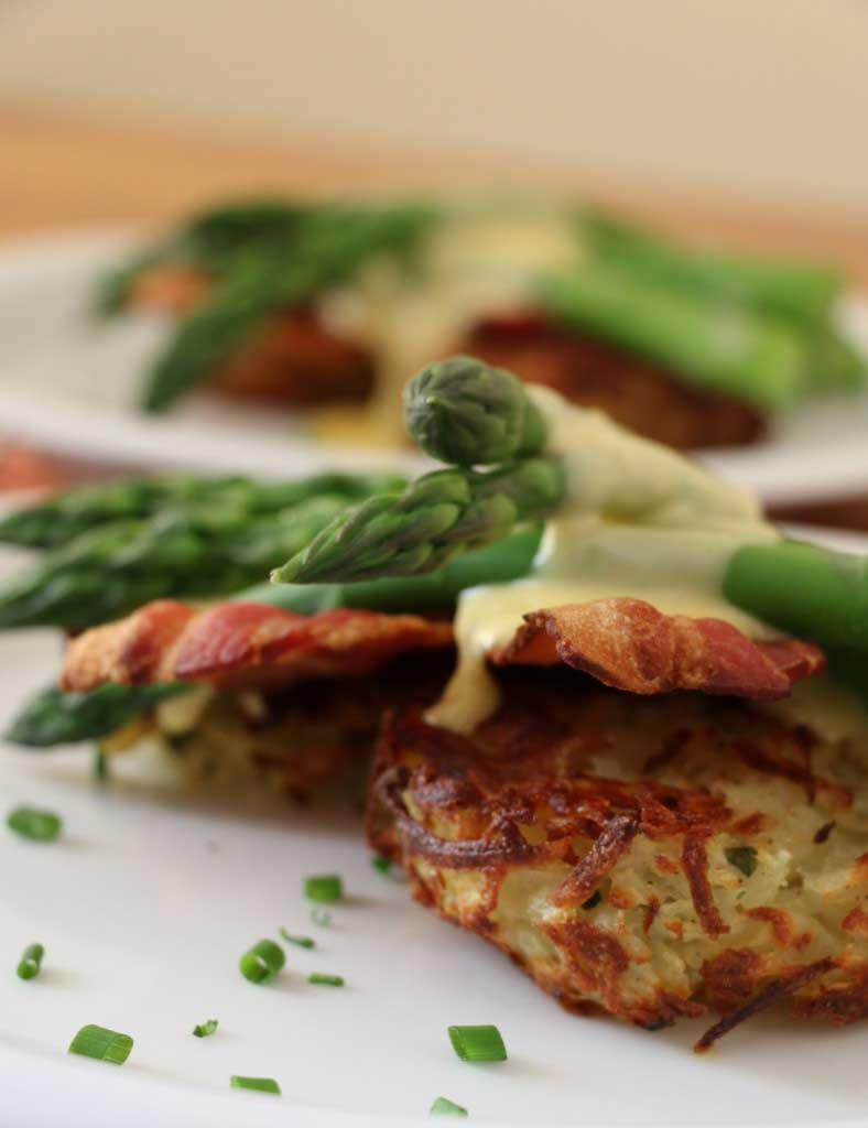 asparagus rosti with bacon and Hollandaise