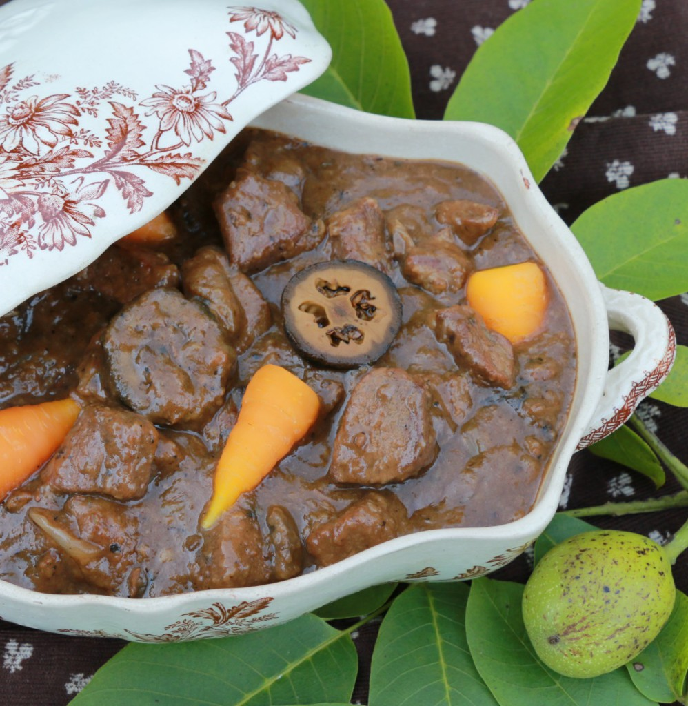 venison braise with pickled walnuts and carrots
