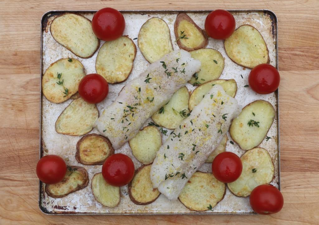 Crumbsonthetable BakedHake w Potato and Tomato