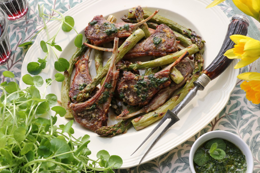 Grilled Lamb Chops and asparagus with mint parlsey pesto
