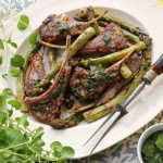 Grilled lamb chops and asparagus with mint and parsley pesto