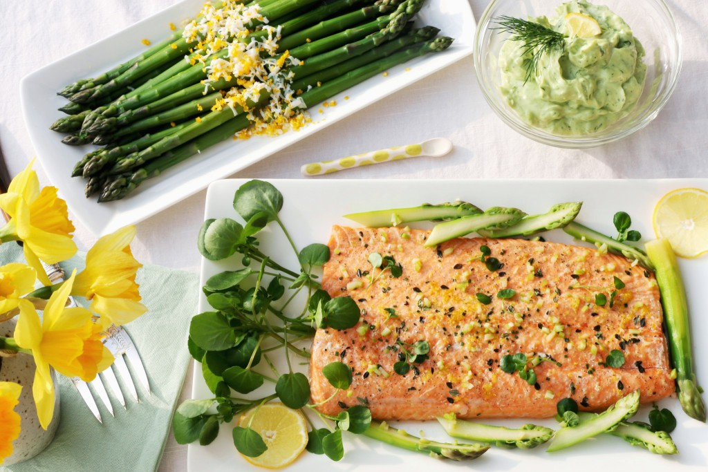 SIDE OF SALMON WITH ASPARAGUS AND SPRING GREEN MAYONNAISE