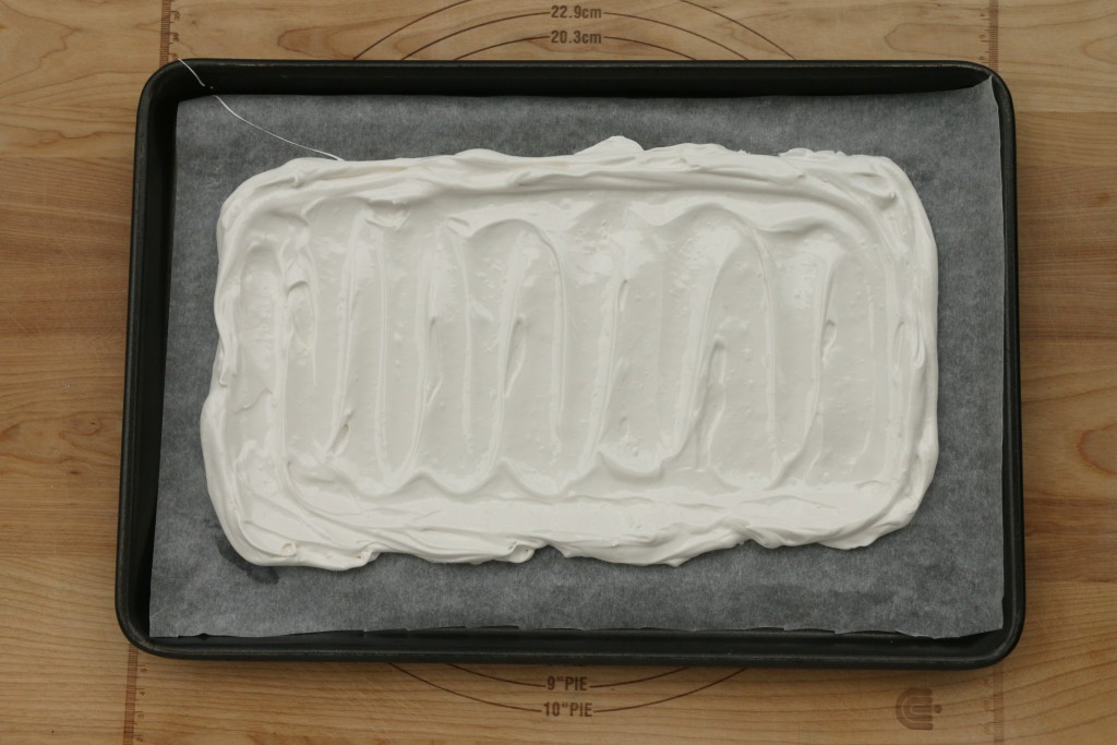rectangular meringue ready for the oven
