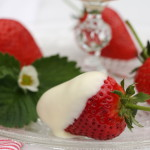 Strawberries in melted white chocolate
