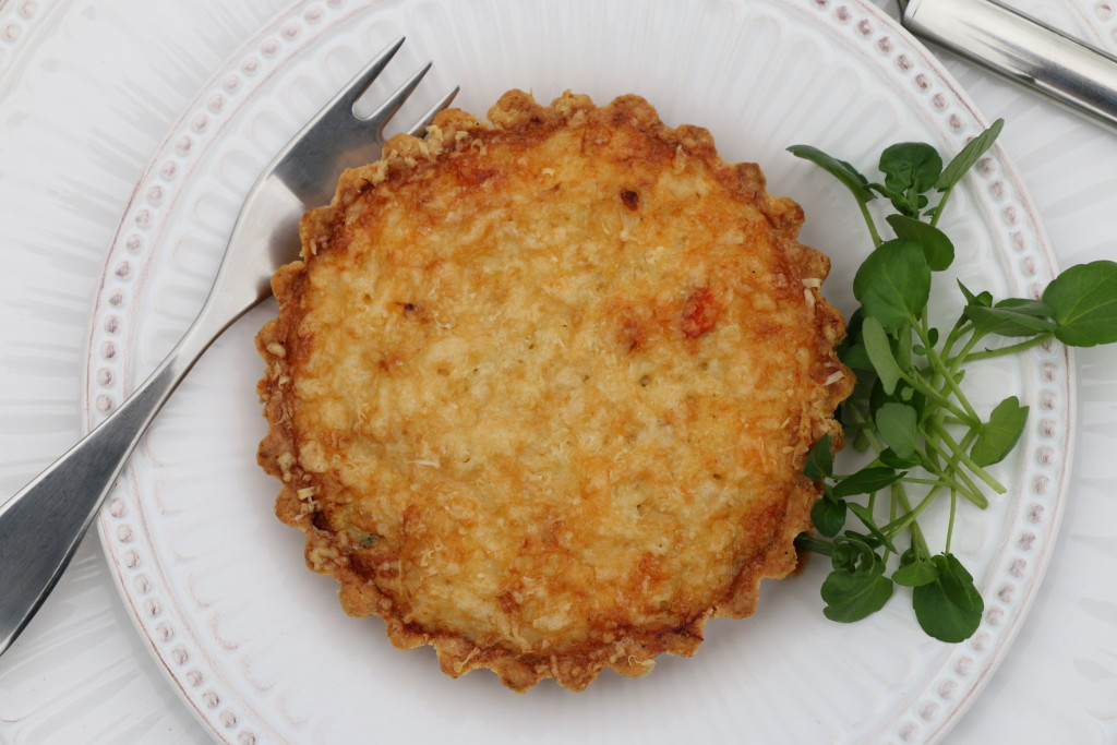 Crab tartlets with parmesan chive short crust