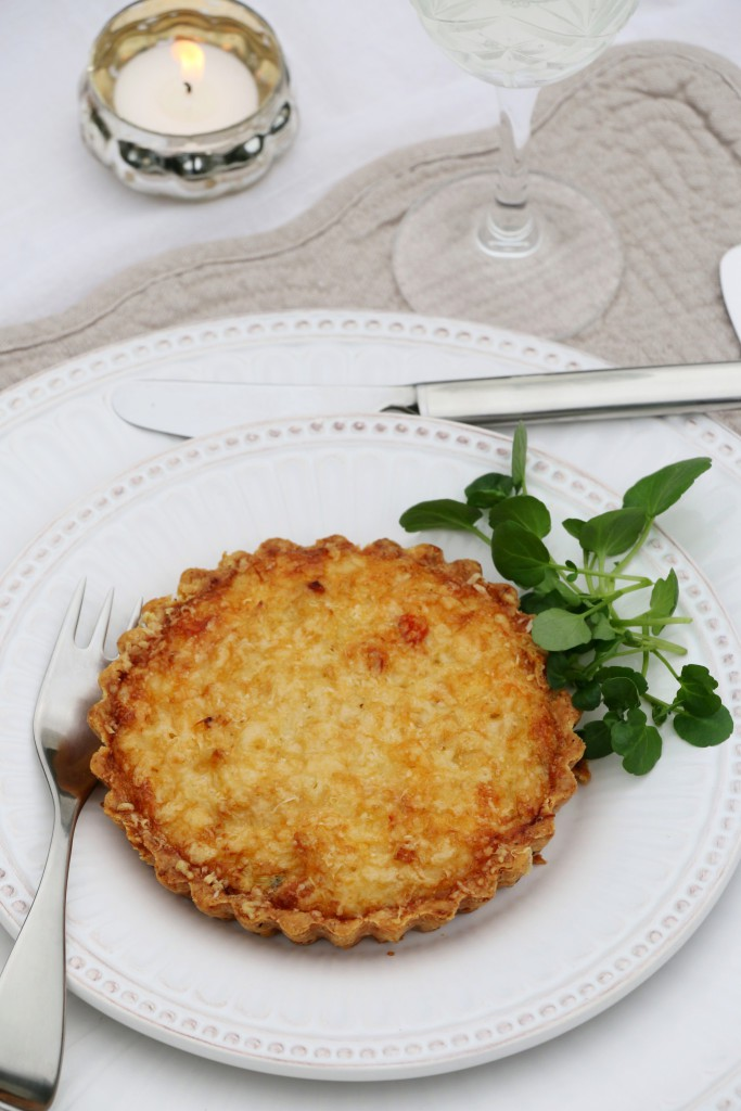 elegant crab tartlet in parmesan-chive short crust shell