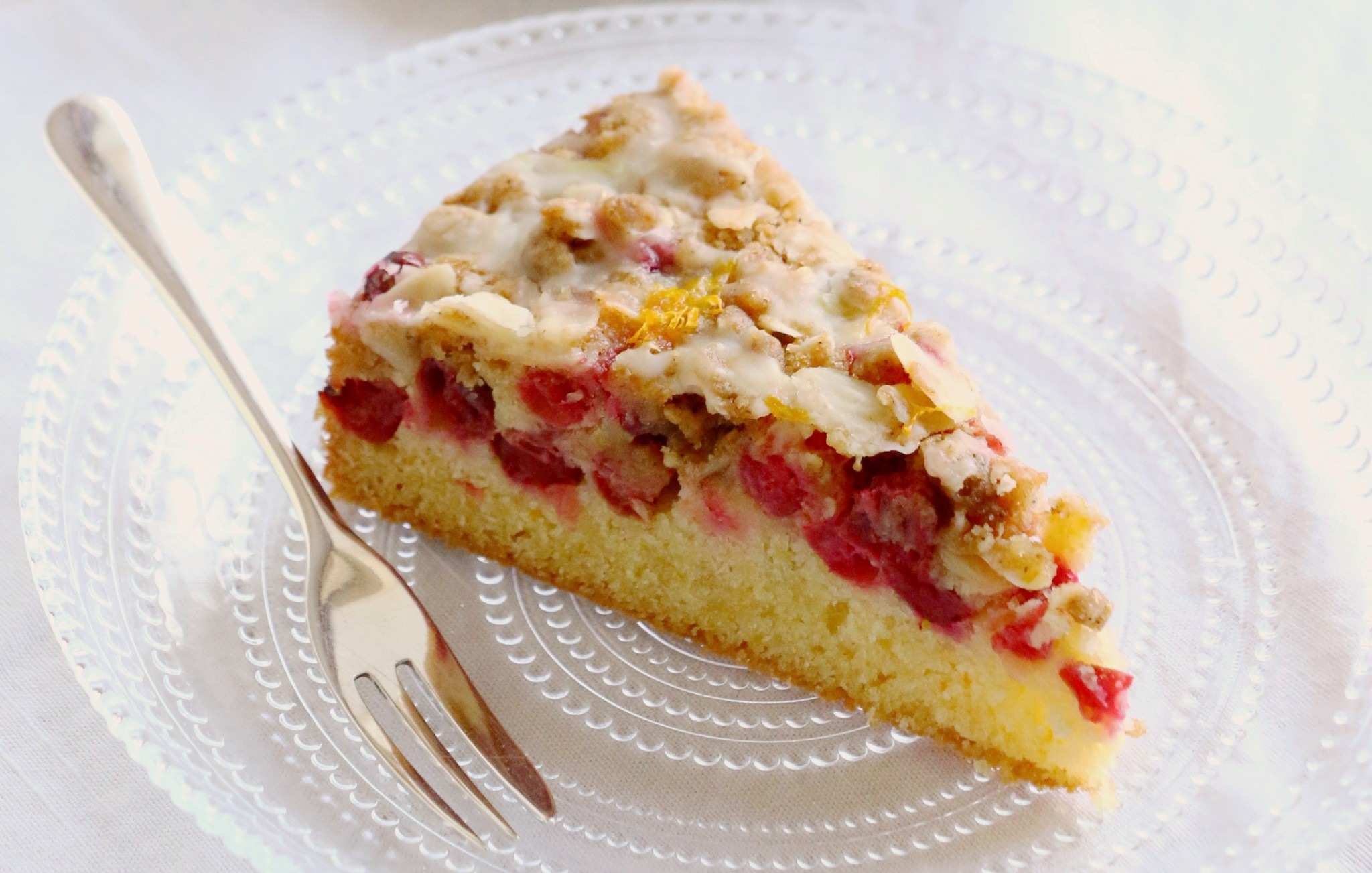 Cranberry And Orange Streusel Cake Crumbs On The Table