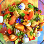 August pickings:  peach and prosciutto panzanella, and chocolate marbleised cheesecake with summer fruits