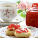 Strawberry rose jam and cream scones